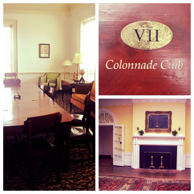 Room 203 on the second floor is a great hidden study spot. On the right: the downstairs area of the Colonnade Club.