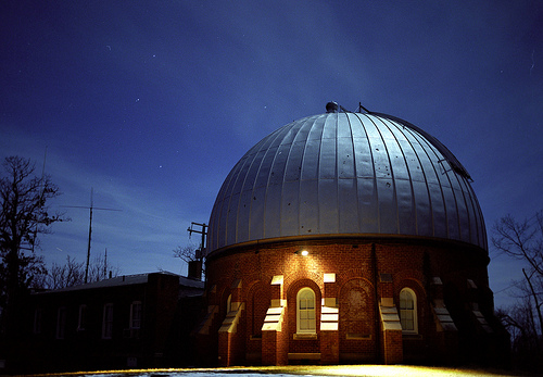 The Leander McCormick Observatory at night.  Photo by George Privon.