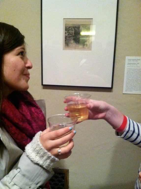 Friends enjoying drinks, art, and good company!