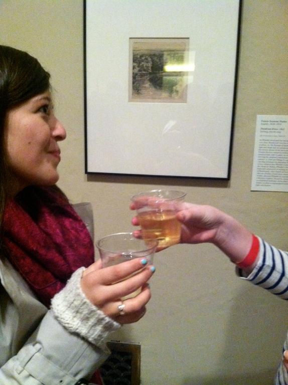 Friends enjoying drinks, art, and good company!