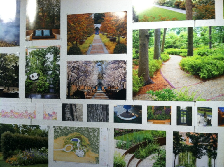Collection of photos in an exhibit at the A-School