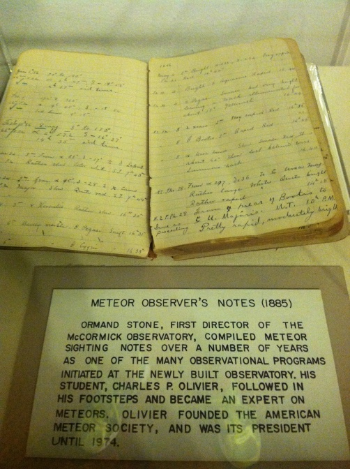 A meteor observer's notes from 1885, featured in the Observatory's museum.
