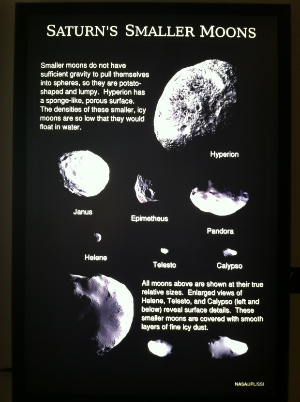 Fun facts about some of Saturn's moons in the museum.